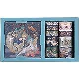 RisyPisy Washi Tape Gift Box Set, Mural Story Gilded Série Masking Tapes, 10 Rouleaux de Ruban Adhésif Décoratif et 10 Feuill