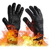 OrgaWise Guantes Barbacoa BBQ Gloves Extremadamente Resistentes hasta 1472 ℉ / 800 ℃, Guantes de Barbacoa para Parrilla, Horn