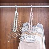EITHEO 360 Degrees Rotatable Hook, Anti-Skid Plastic 9-Holes Design Closet Multi Functional Wardrobe Space Saver Folding Smart Hangers Set