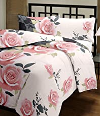 Handcraftd Summer Special 100% Premium Anti-Pilling Super Soft Micro Cotton Double Bed Dohar/Summer AC Quilt/AC Blanket- Black with Pink Flowers