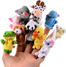 FancyDressWale Velvet Cartoon Animal Finger Puppets Toys (Multicolour)-Pack of 10