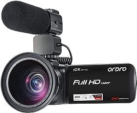 Camcorder ORDRO 10x Optischer Zoom 120x Digitaler Zoom Camcorder Full HD 1080P 30FPS Digitale Videokamera mit externem Mikrofon und Weitwinkelobjektiv H.264
