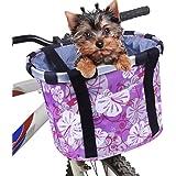 Cestino per Bici, Anteriore Pieghevole Cestini da Ciclismo per Animali Domestici Telaio Staccabile in Lega di Alluminio Cesti