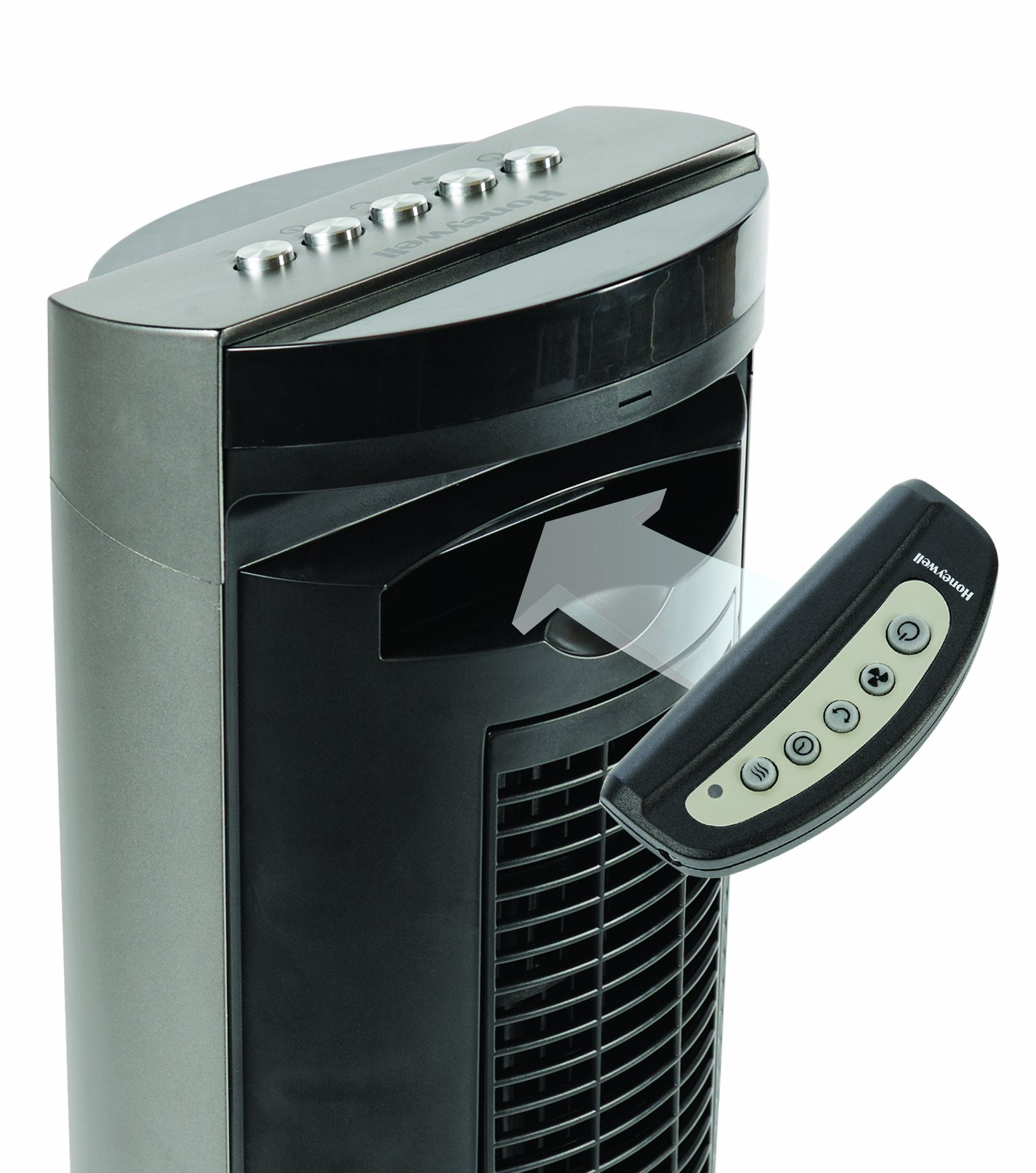 Honeywell HO-5500RE Oscillating Tower Fan with Remote Control and Gliding Grill Function – Black