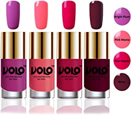 Volo HD Colors High-Shine Long Lasting Non Toxic Professional Nail Polish Set of 4 (Bright Plum, Pink Mania, Moon Magenta and Wine)