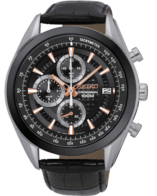 Seiko Reloj Cronógrafo de Cuarzo para Hombre con Correa de Piel – SSB183P1_Nero,
