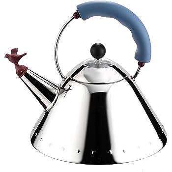 Alessi 9093 Bouilloire en Acier Inoxydable 18/10 Brillant avec Poignée et Sifflet-oisillon en Pa, Bleu Clair, Fond en Acier Magnétique Compatible avec la Cuisson Par Induction