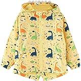 Hinzonek Chubasquero impermeable para niños y niñas, con capucha de dinosaurio, chaqueta cortavientos para viajes, deportes a