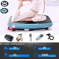 BU-KO Vibrationsplatte - Super leistungsstarke Upgrade 2500W Motor - Crazy Fit Ganzkörper-Vibrationsplattform mit Bluetooth, MP3 & Fernbedienung - Für Gewichtsabnahme und Body Tanning