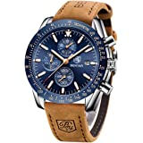 Relojes Hombre BENYAR Cronógrafo Analógico Cuarzo 3bar Impermeable Pulsera de Cuero Deporte Watch Business Casual Relojes de