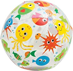 KriTech 24 inch Transparent Fish Print Inflatable Beach Ball