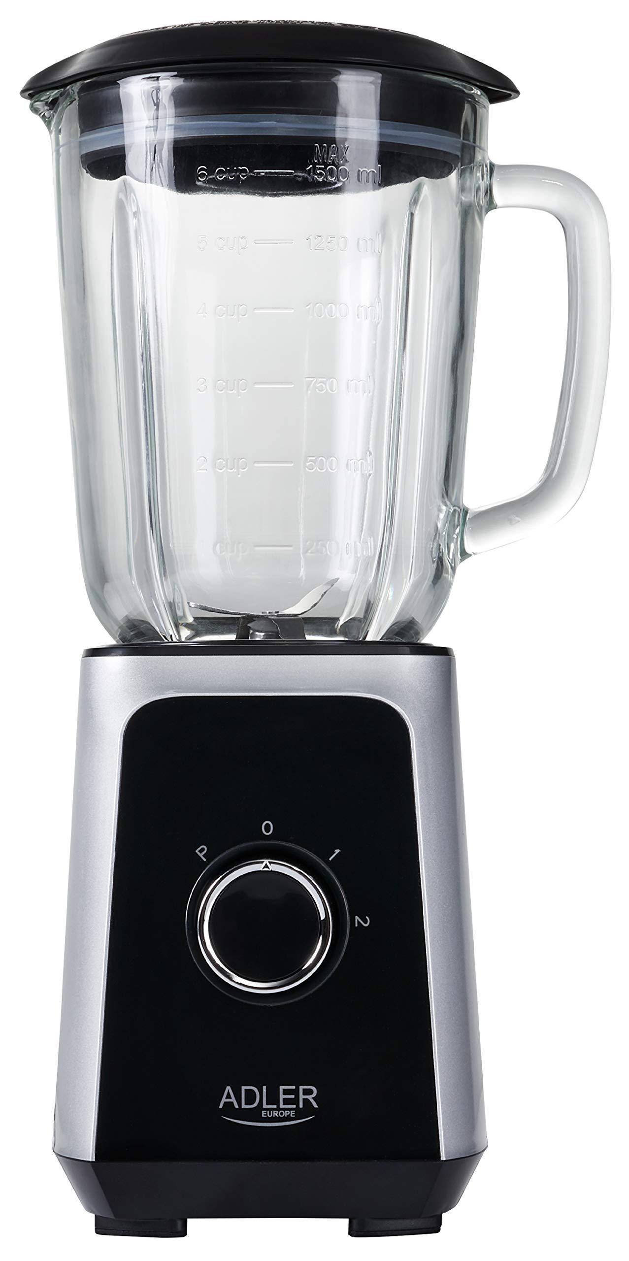 Edelstahl-Standmixer-1000-Watt-2-Geschwindigkeitsstufen-Impulsfunktion-Ice-Crusher-Deckel-mit-Nachfllffnung-Blender-Smoothie-Maker-Universal-Mixer