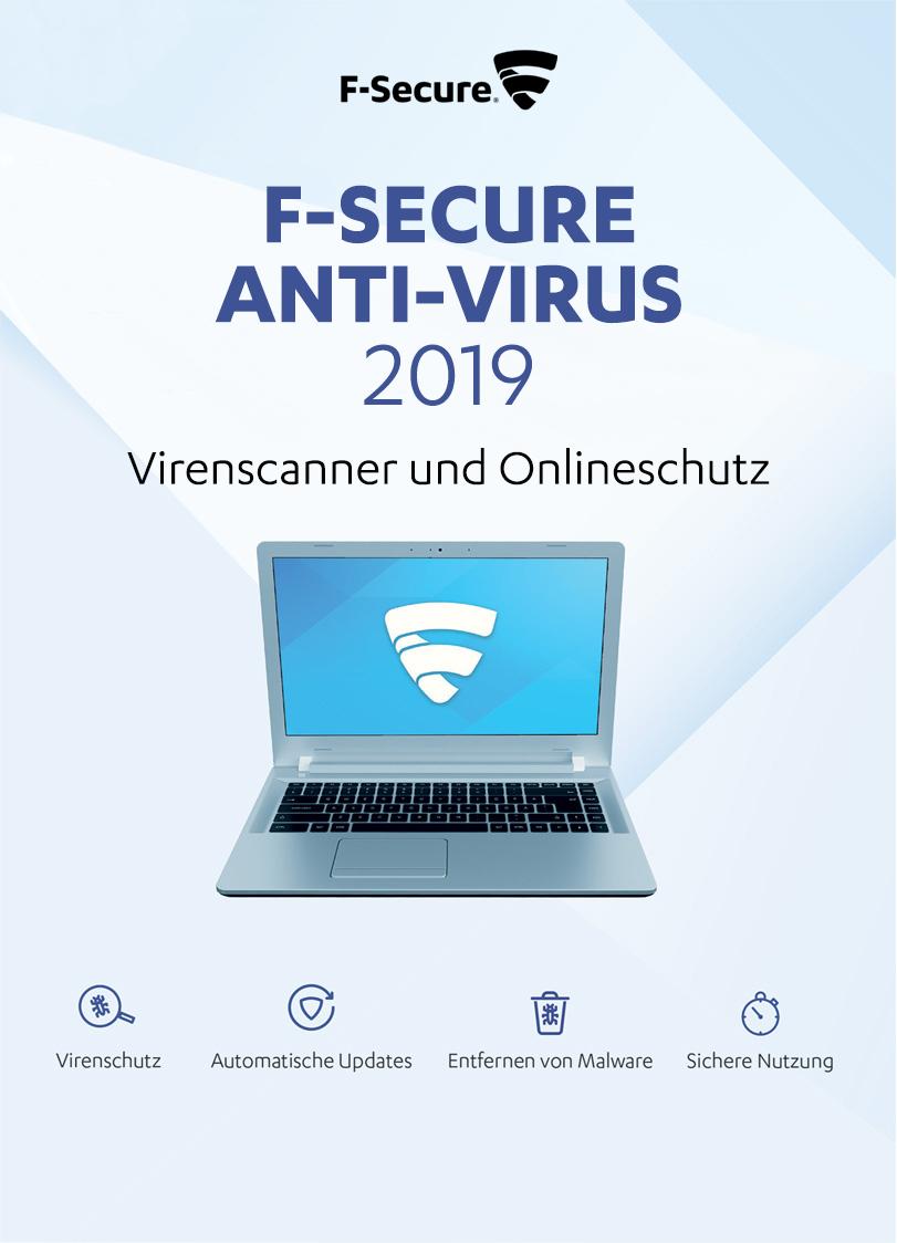 F-Secure Anti-Virus Update 2019 - 1 Jahr / 3 PCs für PC [Online Code]