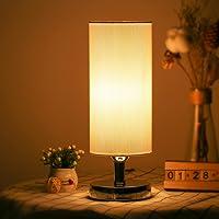Tomshin-e Bedside Table Lamp LED Modern Nightstand Desk Lamp Minimalist Linen Fabric Shade Bedroom Light for Living Room…