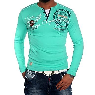 Herrenshirt V-Neck Longsleeve T-Shirt Poloshirt Schwarz/Weiss/Türkis/Grau BB-659:  Amazon.de: Bekleidung