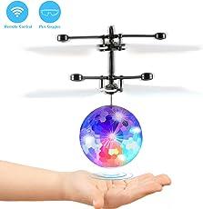 Fansteck RC Fliegender Ball mit Schuzbrille und Fernbedienung, LED Flying Ball mit Handsensor Infrarot Mini Hubschrauber Fliegendes Spielzeug, für Kinder und Erwachsene