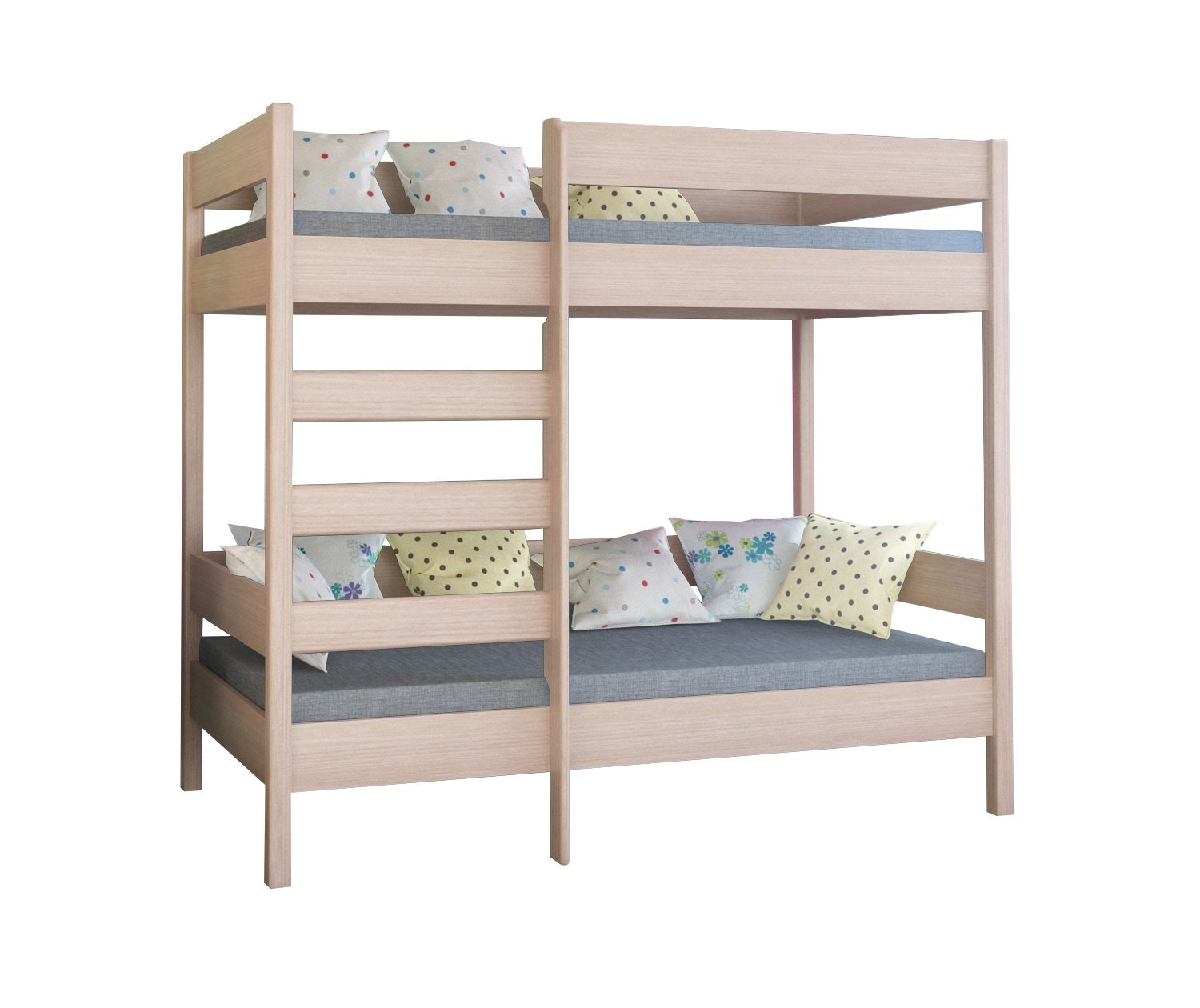 WNM Group Bunk bed Dino high two sleeper front entrance with 2 mattress (160x80x160, Bleached Oak) WNM Group Leg height 160 cm & Bedframe up to 150 kg Legs and ladder made of solid wood 2 Foam mattress included 1