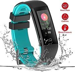 TEZER Fitness Tracker,Wasserdicht Fitness Armbanduhr Smartwatch mit Sportmodus/Blutdruck/Herzfrequenz/Schlaf Schrittzähler/Kalorienzähler/für Bluetooth Android/iOS,Smart Armband für Herren/Damen