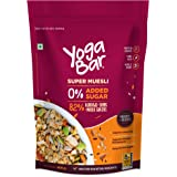 Yogabar Super Muesli, No Added or Hidden Sugar, Breakfast Muesli with Probiotics & Prebiotics, 82% Almonds + Whole Grains + C