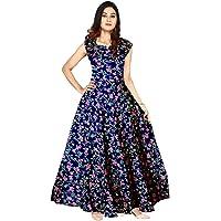 Khushi Print Jwf Women's Rayon Printed Long Maxi Dress (FR471, Multicolour, Free Size)