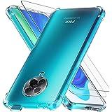 Ferilinso Beschermhoes voor Xiaomi Poco F2 Pro + 2 stuks displaybeschermfolie van gehard glas [transparante TPU-beschermhoes]