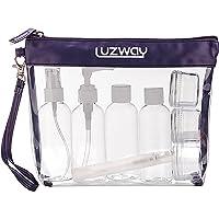 Trousse de Toilette Transparente + 8 Bouteilles Vide de Voyage pour Liquides(Max.100ml), LUZWAY Kit de Voyage pour l…