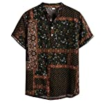 ♛2019 Clearance Sale♛ - Chamery Summer Shirt for MenMens Ethnic Short Sleeve Casual Cotton Linen Printing Hawaiian Shirt...