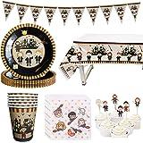 Amycute Wizard Tema Forniture per Feste, Mago Piatti Bicchieri Tovaglioli Tovaglia Cupcake Toppers Striscioni per Festa di Co