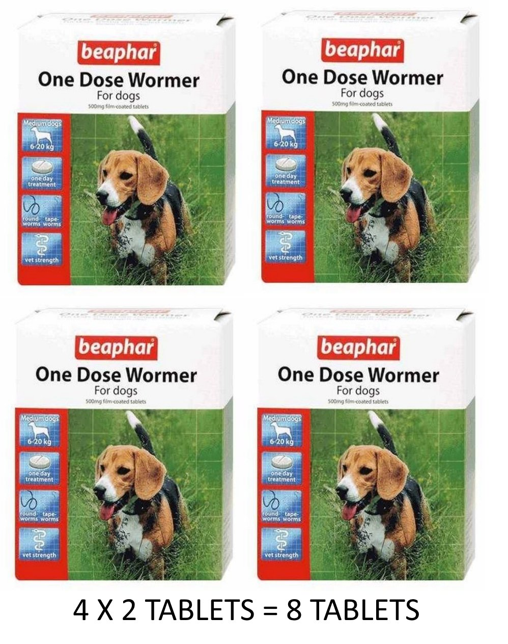 Beaphar One Dose Wormer for Medium Dogs 4 pack
