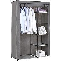 IDIMEX Garde-Robe en Tissu Tanja Armoire en Tissu, Rangement pour vêtements, Structure en métal, avec 5 tablettes et 1…