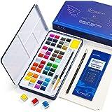 48 Ensemble de Peinture Aquarelle, Palette D'aquarelle avec Pinceaux pour Aquarelle, Palette de Mélange et Demi-gant pour Déb