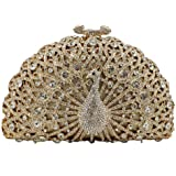 Elegante Clutch mit Kristallen, für Damen, Pfauenmotiv, Clutch