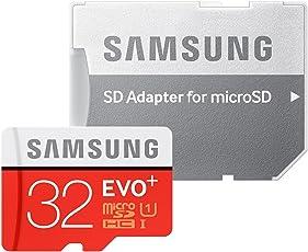 Samsung Memory 32 GB EVO Plus MicroSDHC UHS-I Grade 1 Class 10 Memory Card with SD Adapter - Black/Red/White