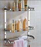 OSLEN Stainless Steel Double Layer Shelf with Towel Road,Multipurpose Wall Mount Bath Shelf Organizer,Kitchen Shelf…