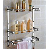 OSLEN Stainless Steel Double Layer Shelf with Towel Road,Multipurpose Wall Mount Bath Shelf Organizer,Kitchen Shelf/Bathroom