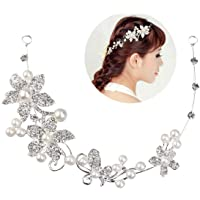 Tinksky, diadema da matrimonio, tiara da sposa, cerchietto per damigelle, coroncina con decorazioni in cristallo, perle…