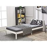 Panana Lit Simple Adult en Bois 1 Place Design Comfort, 198 x 96 x 65 cm, Blanc