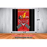 WoW Party Studio Personalized McQueen Car Theme Party Happy Birthday Decorations Background / Backdrop Banner with Birthday B