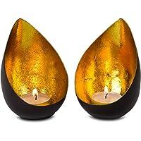 ROMINOX Gifts Tealight Set // Gouttes - 2 pièces, Bougies dorées Brillantes, avec Doublure en Feuille d'or, Noël…