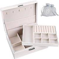 GeeRic Boîtes à bijoux, boîte à bijoux + 10PCS Sacs à bijoux à 2 niveaux avec serrure Organisateur intérieur en velours…
