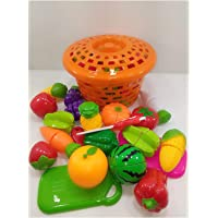 Zaid Collections 15 Pcs Realistic Slice Able Fruits And Vegetable Cutting Along With Basket