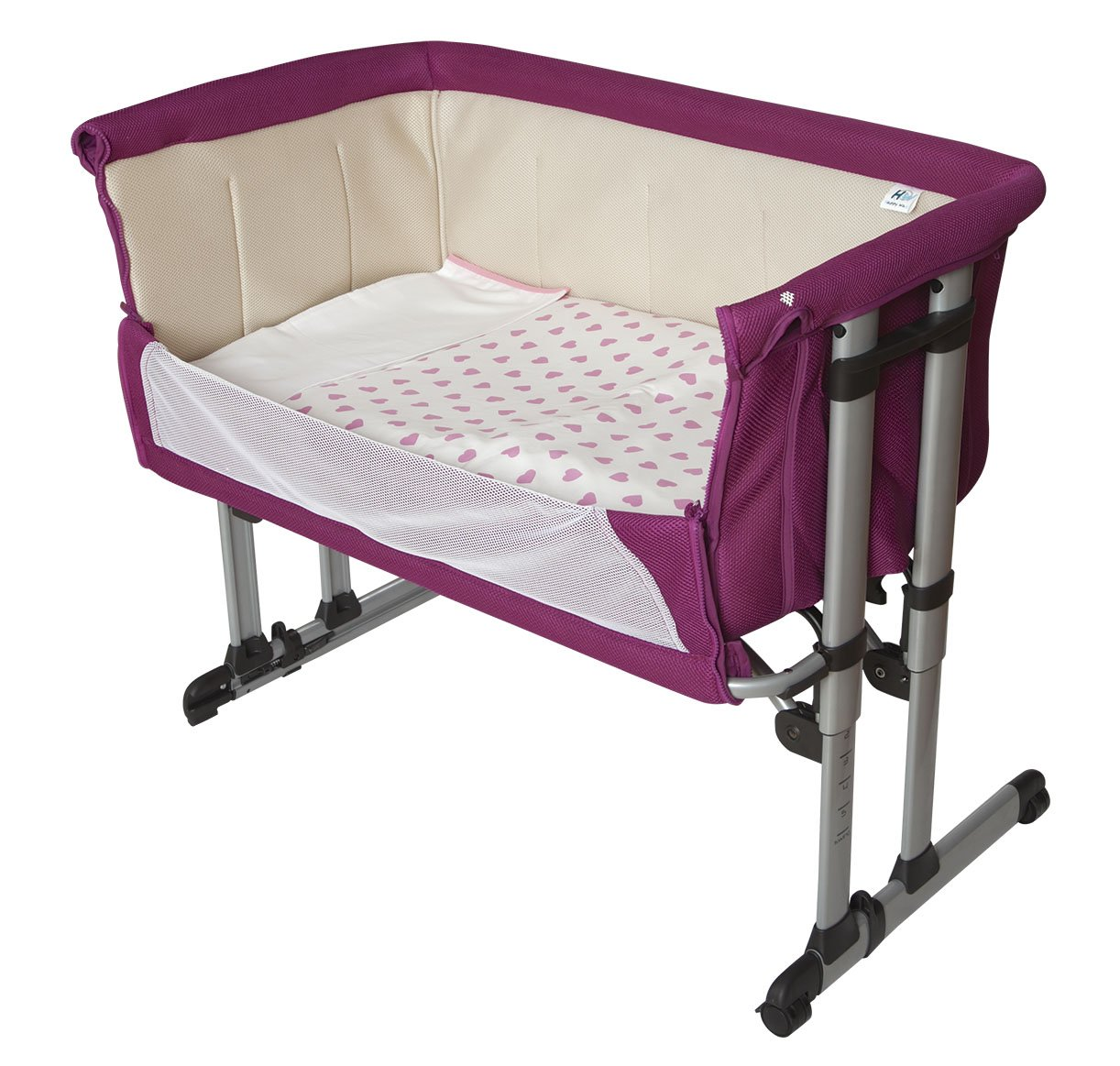 minicuna Baby colecho Adjustable 6 Heights, Aluminium. Quilt + Pillow Case + Fitted Sheet of Gift  The crib that promotes the Co-Sleeping, night nursing and allows you to sleep close to your baby Height adjustable in 6 positions for greater adaptability thanks to its adjustable feet is also compatible with beds with drawer The cradle can be separated from the parents bed, then be used as a standard cot mattress measurements of the minicuna: Length 94 mm x Width 69 x Height 82 cm: Length 80 x Width 50 cm Recommended age: 0 to 6 months (or a maximum of 9 kg) 1