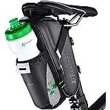ROCKBROS Zadeltas, fietstas, fietszadeltas met flessenhouder, waterdicht, krasbestendig, reflecterend, zwart, zonder waterfle