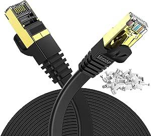 Veetop 10m Lan Kabel Cat 7 Netzwerkkabel Flach Für 10 Gigabit Ethernet Mit Vergoldetem Rj45 Schwarz