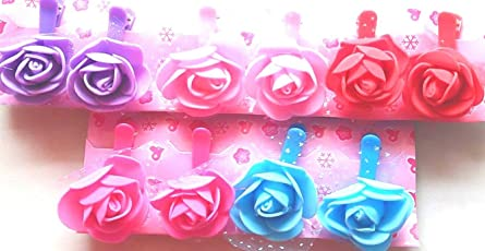 Lovely Arts Collection Girl's Felt Hair Clip (LAC105, Red, Blue and Baby Pink, 12) - Set of 6