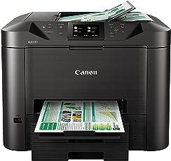 Canon Maxify MB5450 4-in-1 Farbtintenstrahl-Multifunktionsgerät (Drucken, Kopieren, Scannen und Faxen, 4 XL-Tinten, Duplex, USB, LAN/WLAN,D- ADF) schwarz
