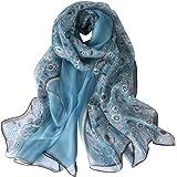 STORY OF SHANGHAI Bufanda de Seda Mujer 100% Seda Estampado Floral Colorido Gran Bufanda Mantón Ultraligero Transpirable Eleg
