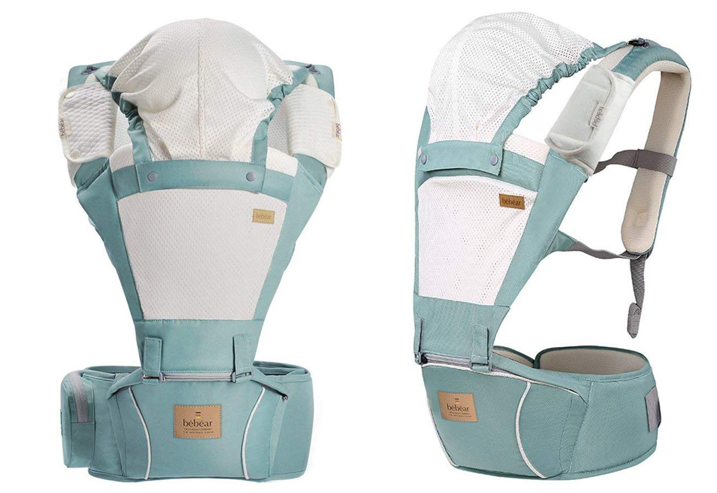 Bebamour Hipseat Baby Carrier Backpack 5 in 1 Carry Ways Carrier Sling (Light Green) bebear ▲VIDEO --- Know more details by YOUTUBE by searching 'Bebamour Baby Carrier Hipseat'. Gift-Box Packaged. Bebamour offer 90 days money back Guarantee! Quality problems with our baby carrier occur within this period will be offered a replacement. ✔ PROMISED QUALITY AND FABRIC - The baby carrier is made with 100% polyester with breathable cotton make baby feel comfortable and cozy. (If you have any questions in using baby carrier, pls don't hesitate to contact us. ✔ ERGONOMIC DESIGNED - Although it is a baby carrier hipseat, it also is designed according to baby's growth. Suit for baby who is 3-36 months and whose capacity is between 0-33lbs (14.9KG). 2
