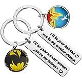 مجموعة سلسلة مفاتيح FAADBUK للزوجين DC Comics هدية مستوحاة من ووندر وومان باتمان هدية للصديق والصديقة