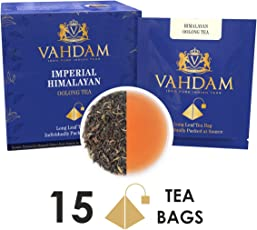 VAHDAM, Himalayan Oolong Tea Leaves (15 Tea Bags) | Long Leaf Pyramid Oolong Tea Bags | Oolong Tea for Weight Loss | 100% Natural Oolong Tea Loose Leaf | Detox Tea & Slimming Tea
